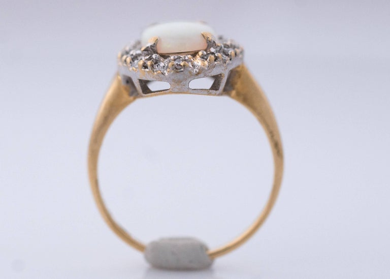 1960s Opal and Diamond Halo 14 Karat Yellow Gold Ring For Sale 1