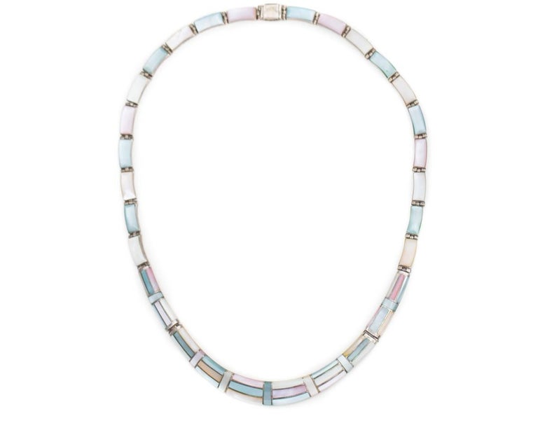 Retro 1950s Natural Pastel Shell Inlay Sterling Silver Necklace For Sale