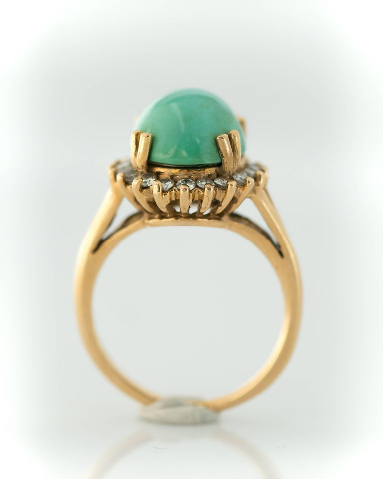 Women's 1950s Tiffany & Co. Persian Turquoise Cabochon Diamond Halo 14 Karat Gold Ring For Sale