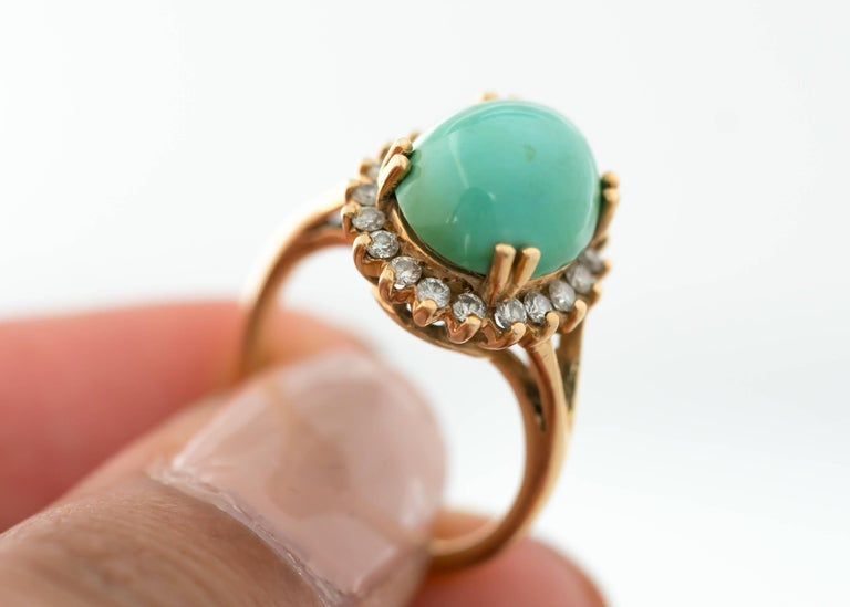 1950s Tiffany & Co. Persian Turquoise Cabochon Diamond Halo 14 Karat Gold Ring For Sale 1
