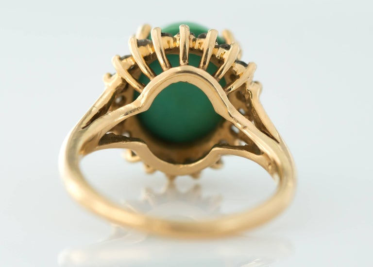 Oval Cut 1950s Tiffany & Co. Persian Turquoise Cabochon Diamond Halo 14 Karat Gold Ring For Sale