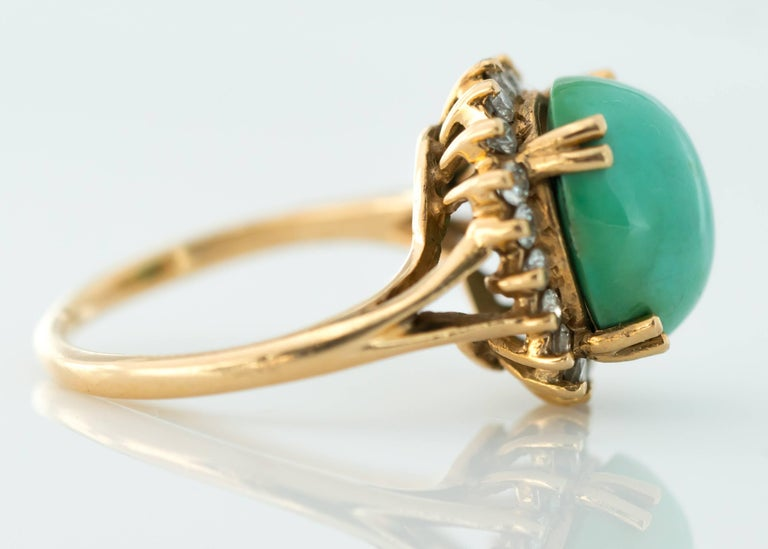 Retro 1950s Tiffany & Co. Persian Turquoise Cabochon Diamond Halo 14 Karat Gold Ring For Sale
