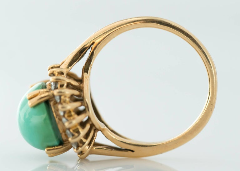 1950s Tiffany & Co. Persian Turquoise Cabochon Diamond Halo 14 Karat Gold Ring In Good Condition For Sale In New York, NY