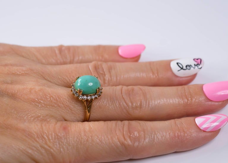 1950s Tiffany & Co. Persian Turquoise Cabochon Diamond Halo 14 Karat Gold Ring For Sale 2