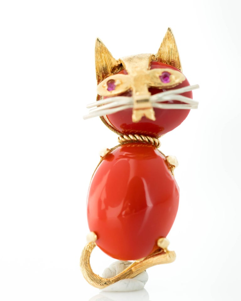 1960s Coral and Ruby 18 Karat Gold Cat Brooch 7