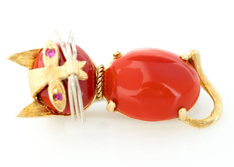 1960s Coral and Ruby 18 Karat Gold Cat Brooch 6