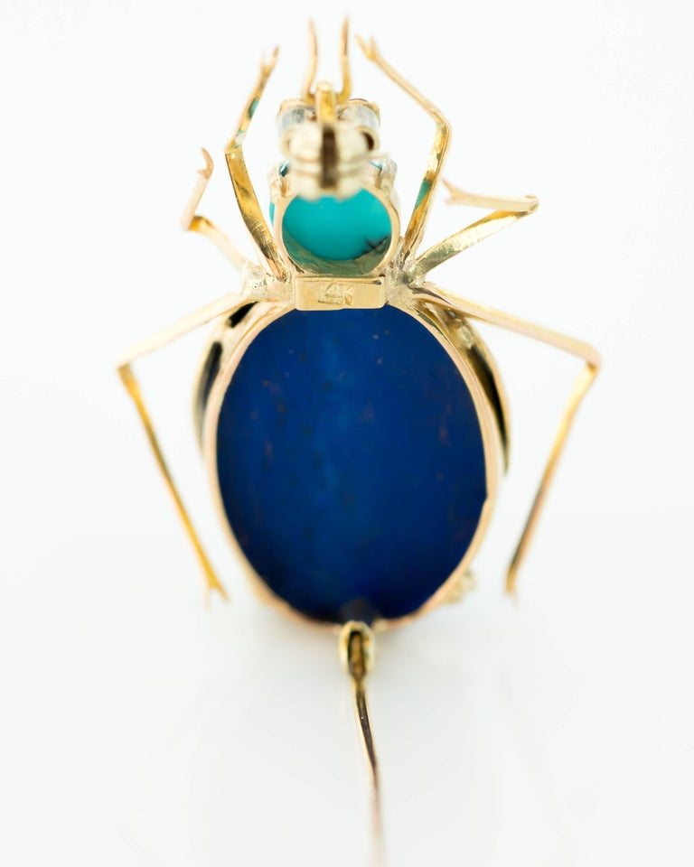 Women's or Men's 1950s Lapis Lazuli, Turquoise and Ruby 14 Karat Gold Insect Brooch For Sale