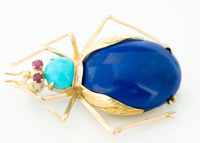 Retro 1950s Lapis Lazuli, Turquoise and Ruby 14 Karat Gold Insect Brooch For Sale