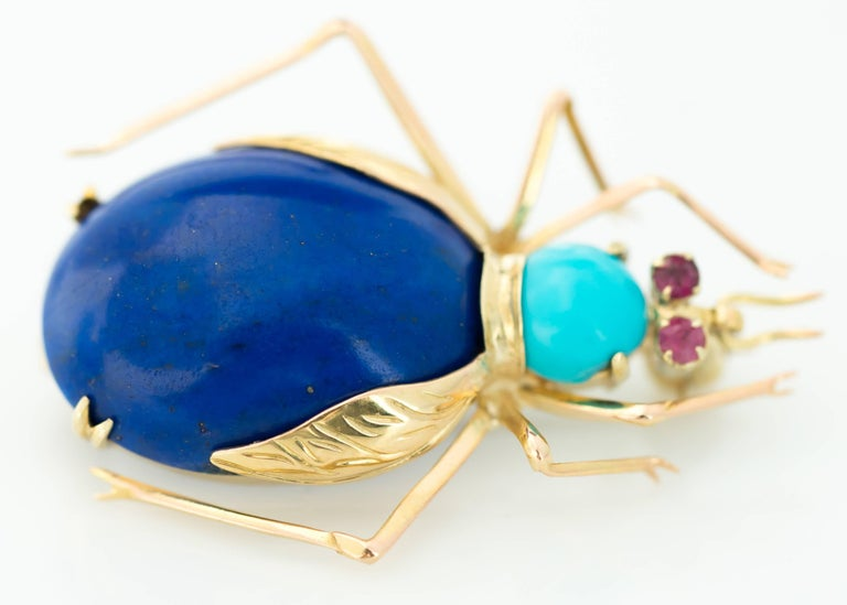1950s Lapis Lazuli, Turquoise and Ruby 14 Karat Gold Insect Brooch In Good Condition For Sale In New York, NY