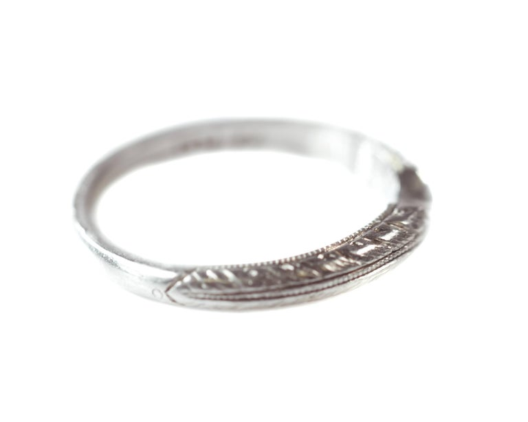 1960s Retro Curved Wedding Band Platinum Features A Delicate Etched Pattern Along The Front Half