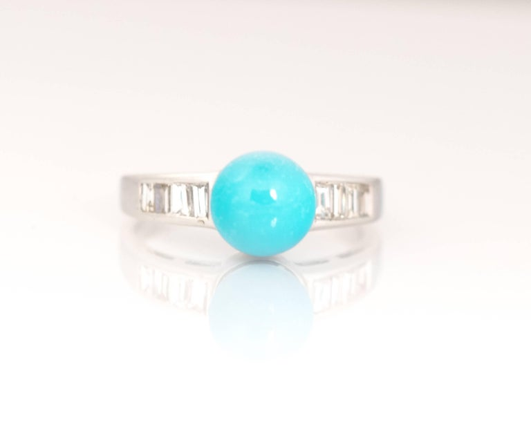 Modern 1970s Turquoise and Diamond 18 Karat White Gold Ring For Sale