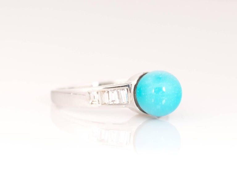 Women's 1970s Turquoise and Diamond 18 Karat White Gold Ring For Sale