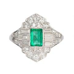 .75 Carat Emerald and Diamond Platinum Engagement Ring