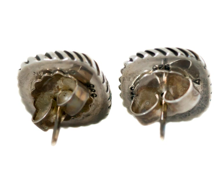 Contemporary 1990s David Yurman Garnet Cable Stud Earrings For Sale