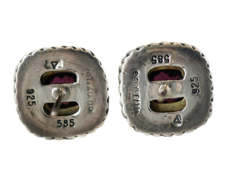 1990s David Yurman Garnet Cable Stud Earrings In Good Condition For Sale In New York, NY