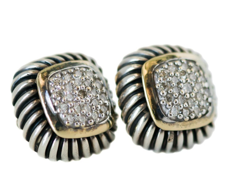 1990s David Yurman Cable Stud Earrings - 18 Karat Yellow Gold, Sterling Silver, Diamonds  Features: Pave Diamond Center 18 Karat Yellow Gold Bezel setting  Sterling Silver Cable Frame and earring back Earrings measure 13.5 millimeters