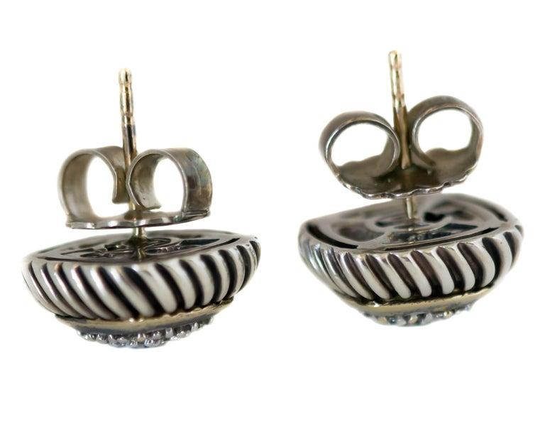 Round Cut 1990s David Yurman Diamond Cable Stud Earrings For Sale