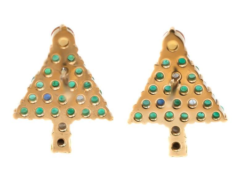 1970s Emerald Christmas Tree Stud Earrings - 14 Karat Yellow Gold, Emeralds, Diamonds, Sapphires, Citrine  Features: 2.0 carat total weight Gemstones 14 Karat Yellow Gold Custom Made Design Citrine Tree Topper Sapphire Ornaments and Trunk Diamond