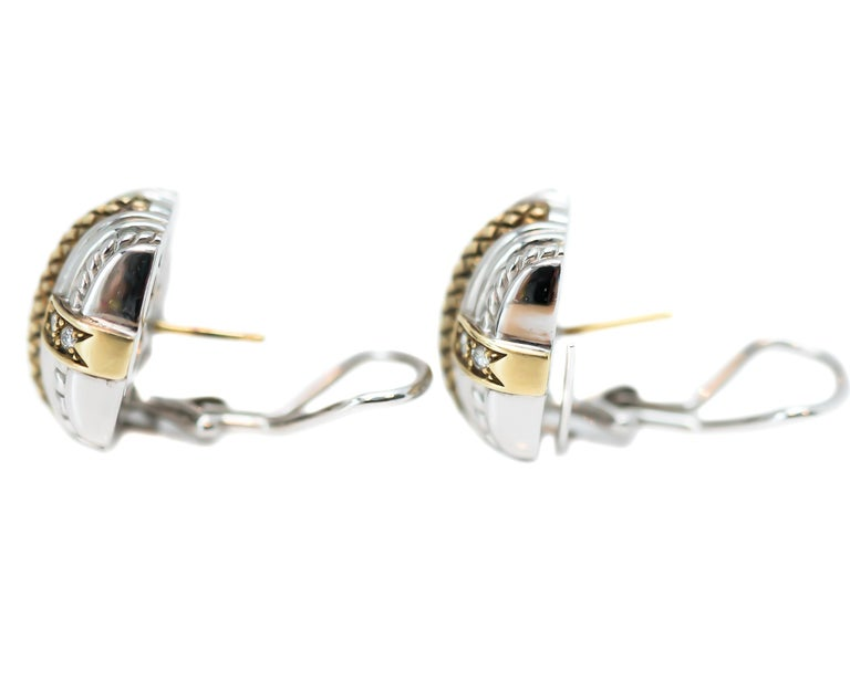 Contemporary Judith Ripka Sterling Silver, 18 Karat Yellow Gold, Diamond Earrings For Sale
