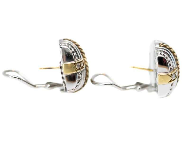 Round Cut Judith Ripka Sterling Silver, 18 Karat Yellow Gold, Diamond Earrings For Sale