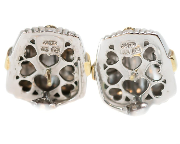 Judith Ripka Sterling Silver, 18 Karat Yellow Gold, Diamond Earrings In Good Condition For Sale In New York, NY