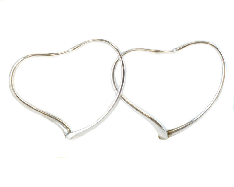 1c722d8ec Elsa Peretti for Tiffany and Co. Open Heart Hoop Earrings - Sterling Silver  Features High