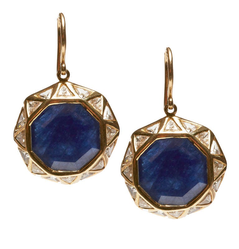 Jade Jagger Sapphire and Diamond Octagon Earrings 2