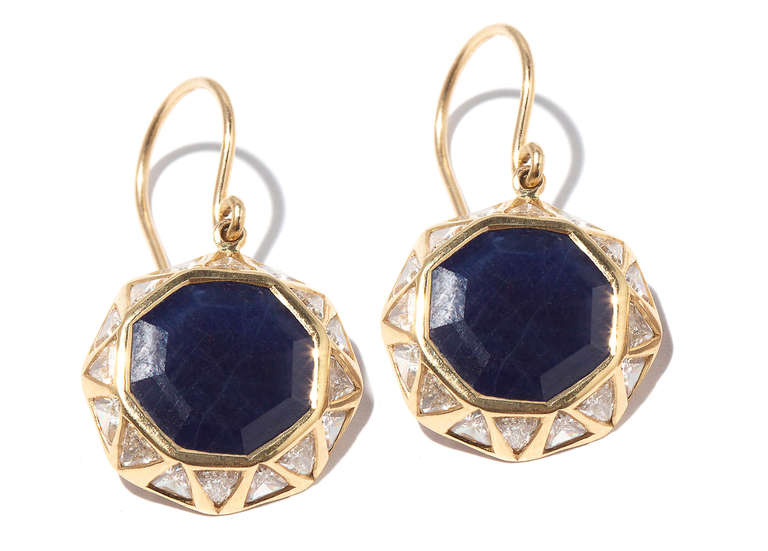 Jade Jagger Sapphire and Diamond Octagon Earrings 3