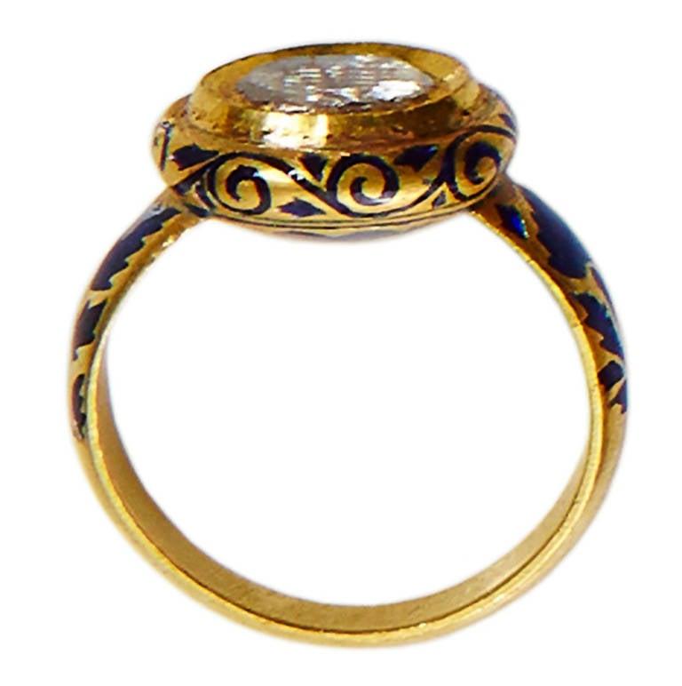 jade jagger polki blue enamel gold ring for