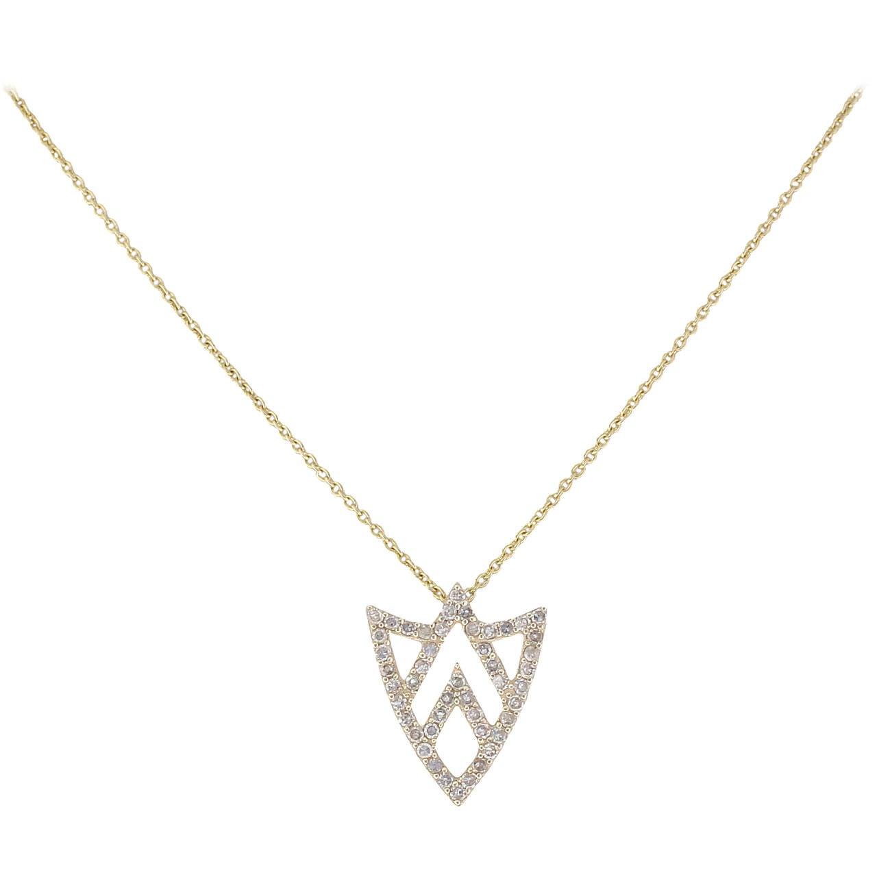 Chevron Shield 14k Yellow Gold and White Diamonds Necklace