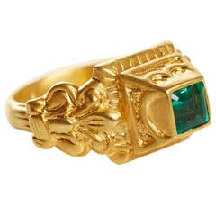 Jade Jagger Emerald Gold Pyramid Ring