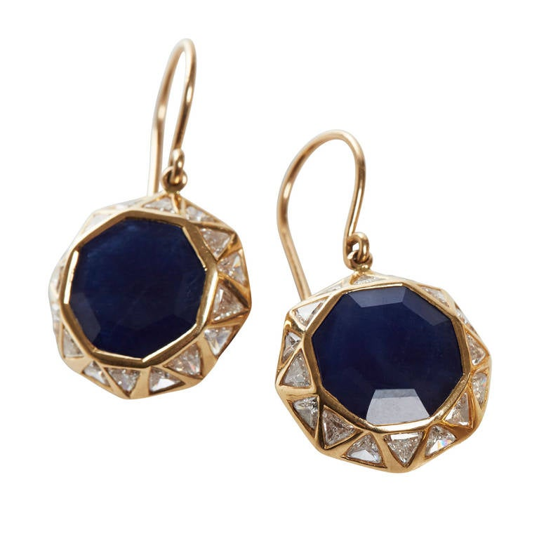 Jade Jagger Sapphire and Diamond Octagon Earrings 1