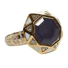 Jade Jagger Sapphire Diamond Gold Octagon Ring