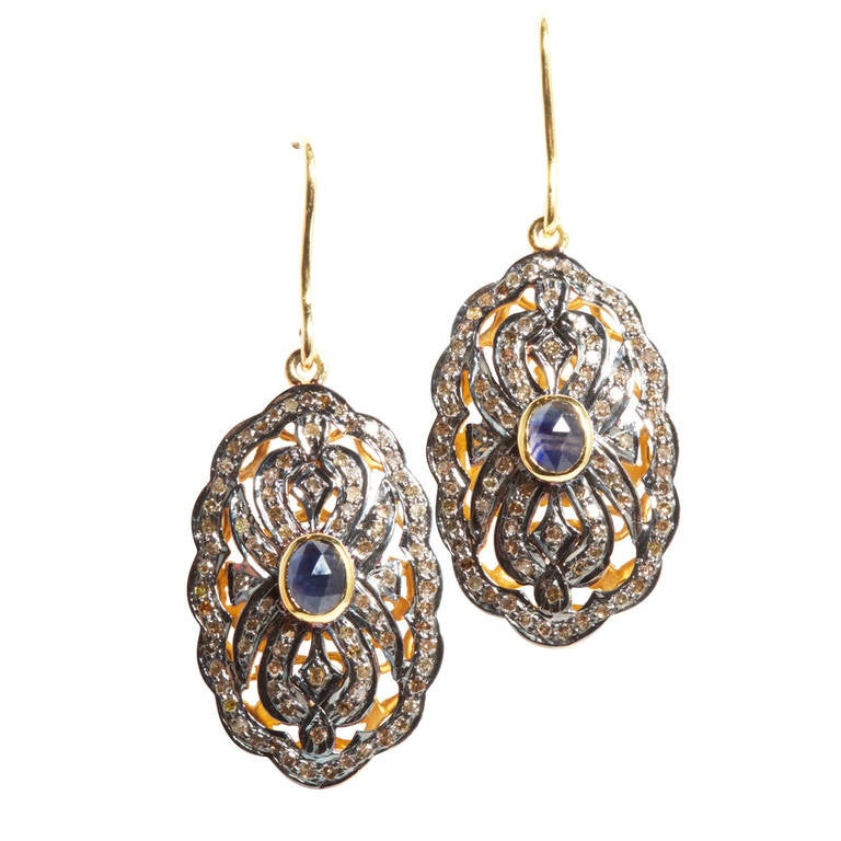 Jade Jagger Sapphire and Diamond Earrings 1