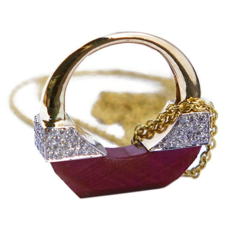 Jade Jagger Never Ending Ruby and Diamond Ring Pendant