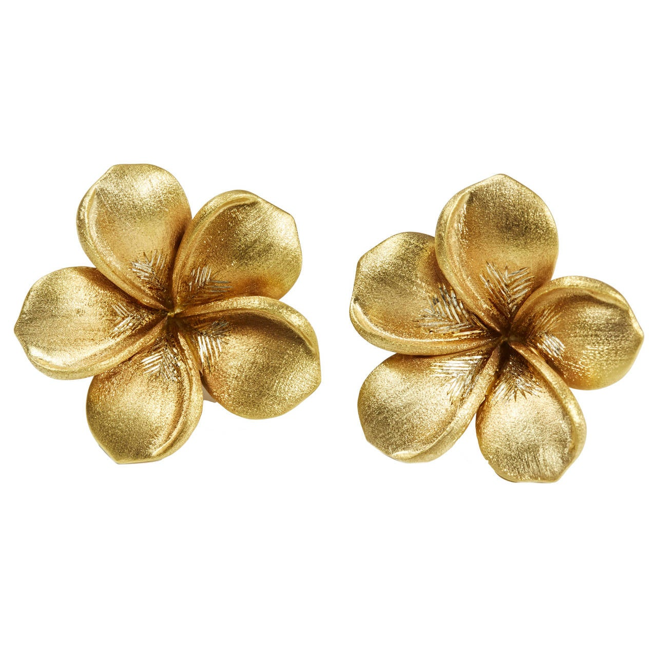 Jade Jagger Large Gold Flowers Earrings For