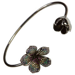 jade Jagger Black Rhodium & Stones Twin Flower bracelet