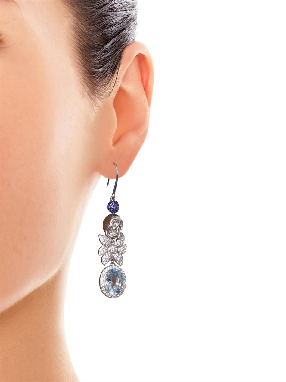 Jade Jagger Aquamarine Sapphire Diamond Skull Cocktail Earrings 3