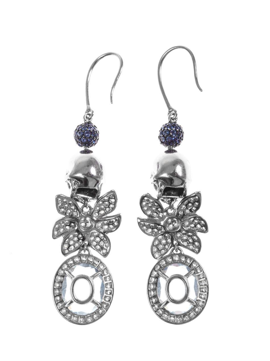Jade Jagger Aquamarine Sapphire Diamond Skull Cocktail Earrings 5