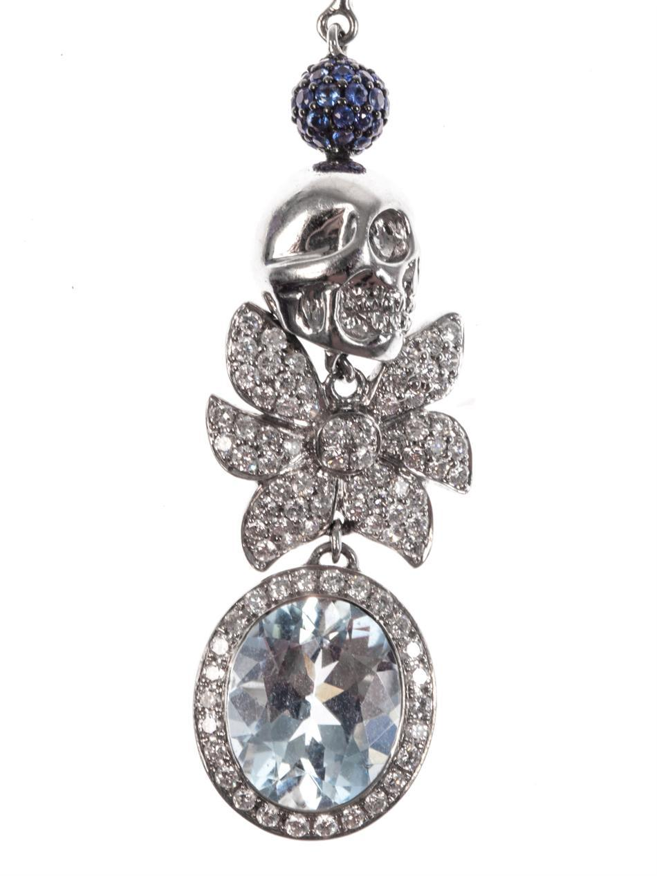 Jade Jagger Aquamarine Sapphire Diamond Skull Cocktail Earrings 2