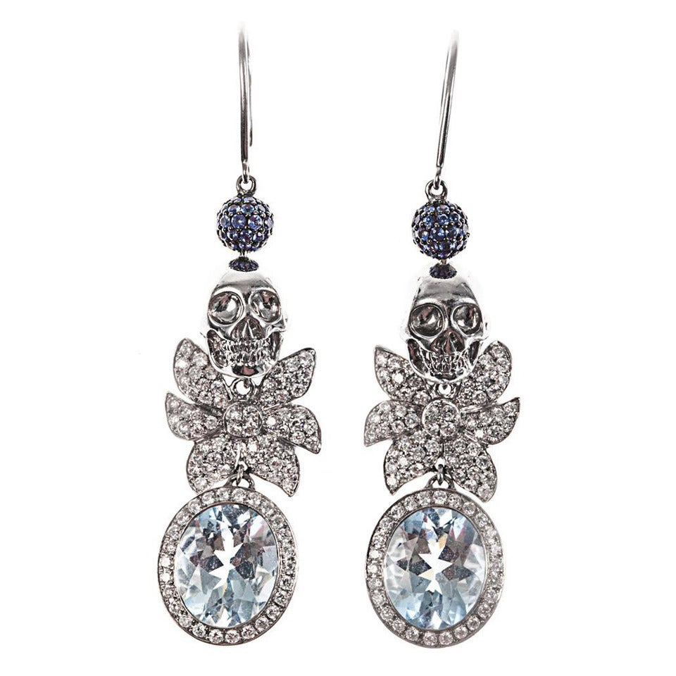 Jade Jagger Aquamarine Sapphire Diamond Skull Cocktail Earrings 1