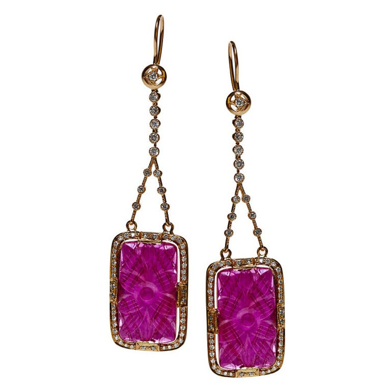 Jade Jagger Square Carved Ruby Drop Earrings with Diamond Surround