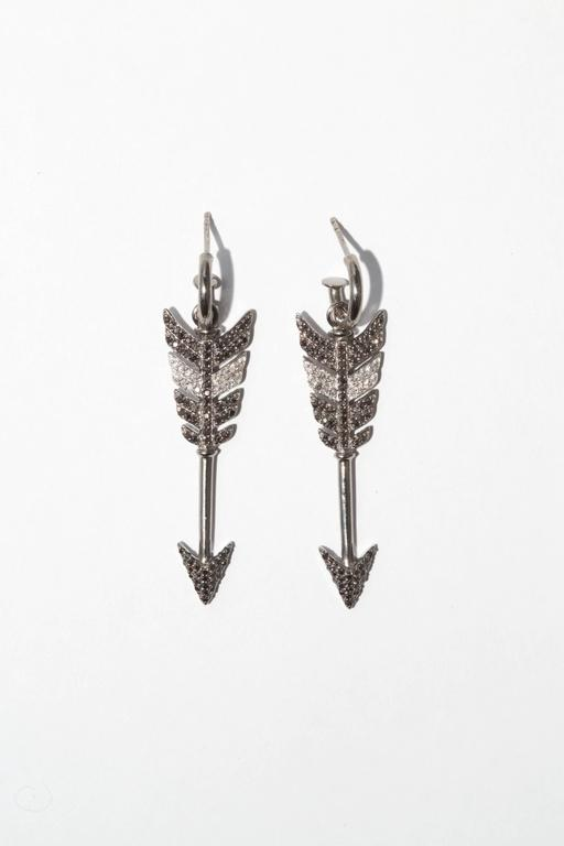 Large Black Diamond Rhodium Silver Arrow Earrings 2