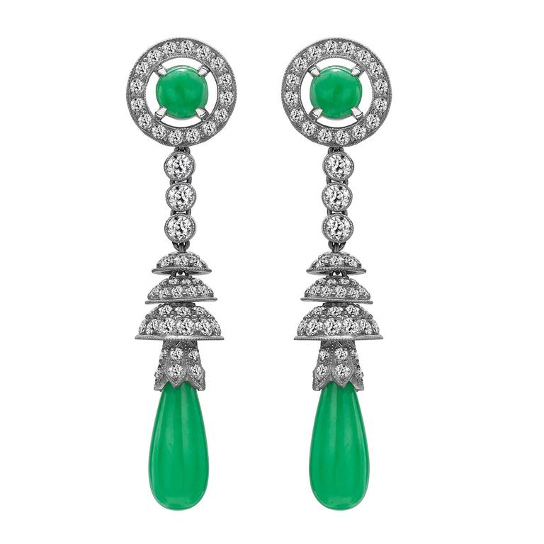 1920s Art Deco Jade Diamond Platinum Drop Earrings