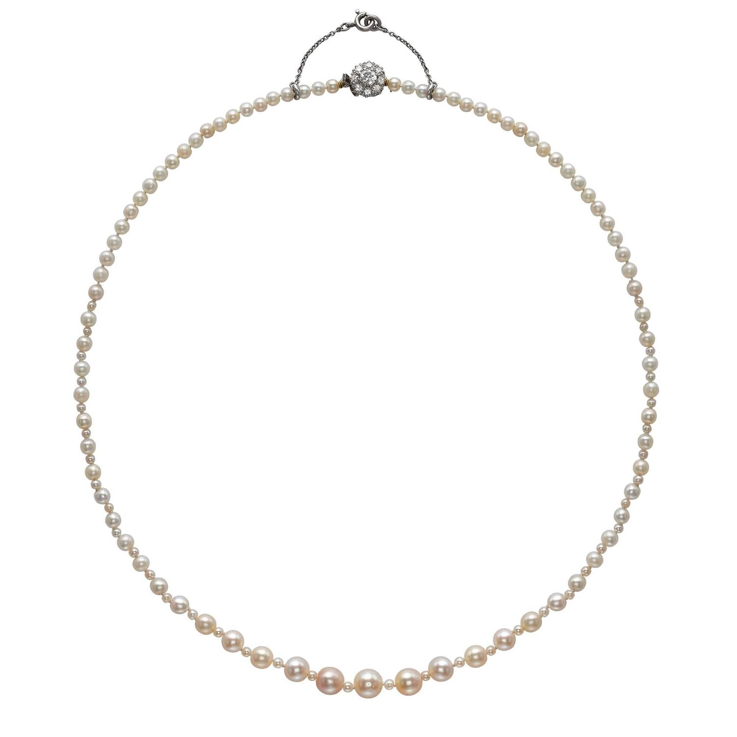 Natural Saltwater Pearl Necklace: Natural Saltwater Pearl Necklace With Diamond Clasp For