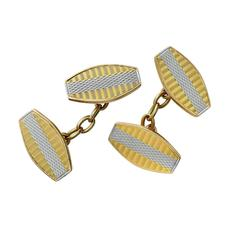 Yellow Gold and Platinum Chain Link Cufflinks