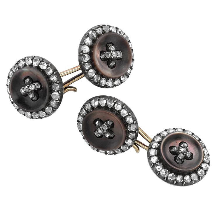 Yellow Gold Diamond Set Mother of Pearl Button Style Cufflinks
