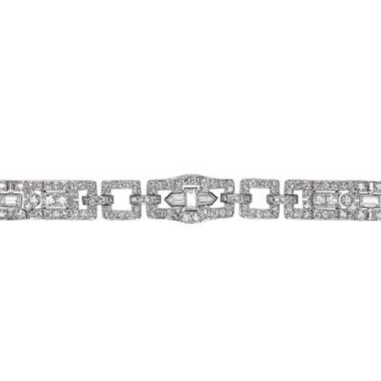 Cartier  Art Deco Diamond Platinum Bracelet For Sale