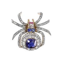Victorian Sapphire Diamond and Ruby Spider Brooch Cushion Cut Sapphire