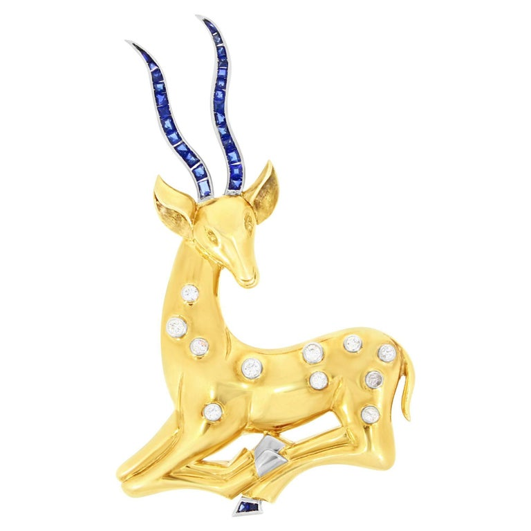 Art Deco Sapphire and Diamond Set Deer Brooch